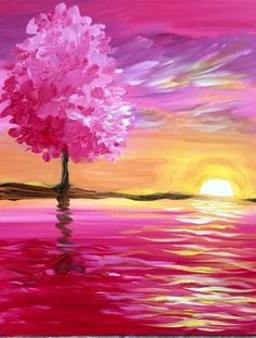 Sunset View Painting Easy Acrylic Painting Ideas On Canvas Easy Acrylic Painting Ideas Easy Painting Ideas For Beginners Simple Painting Ideas Very Easy Painting Ideas For Kids Easy Canvas Painting, Simple Acrylic Paintings, Easy Paintings, Acrylic Art, Canvas Art, Beginner Painting, Art Plastique, Tree Art, Belle Photo