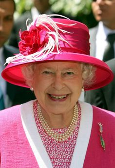 The Queen during a State visit to Turkey on 15th May 2008. The Tulip brooch was a gift from the President of Turkey while visiting.
