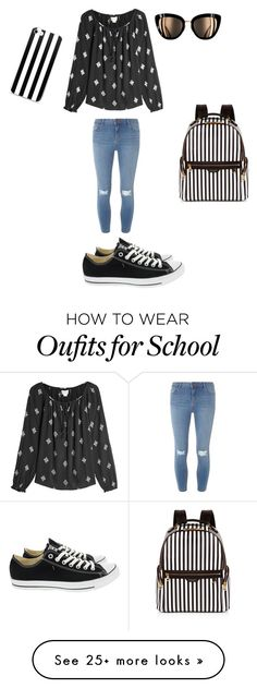 """Cute school🏫 outfit"" by lillianintinarelli on Polyvore featuring Velvet, Dorothy Perkins, Converse and Henri Bendel"