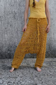 Crochet harem pants in mustard, yellow. ONE OF A KIND  This wonderful pants are made from quality Italian yarn.  Size: womens (S/M) - ready for shipment Model measurements: bust: 88cm, waist: 68cm, hips: 90cm. Hand wash in cool water and dry flat.  Also available in other kind of yarns - please convo me for details.   For more colors and designs you could visit my shop, custom orders are welcome. If you have any question contact me I always love to help!  Thank you for visiting my shop…