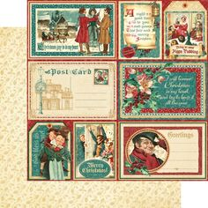 """*PRE-ORDER* Graphic 45 - A Christmas Carol Collection - 12""""x12"""" cardstock - Figgy Pudding"""