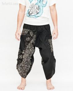 Urban Active Samurai Harem Pants (Black Dotted Flowers)