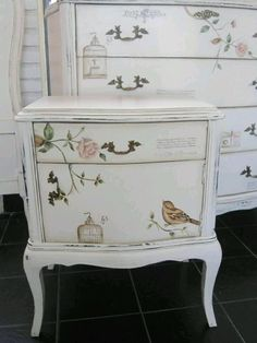 Painted & decoupaged nightstand & dresser