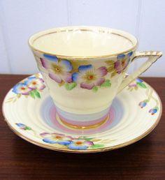 Handpainted 1930s Cups & Saucers, Viola Phoenix Ware