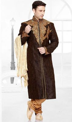 Shake off all your dark moods and brighten your day with this mens kurta pajama in brown color embroidered brocade. The ethnic resham and stones work for kurta adds a sign of attractiveness statement for your look. Brocade might vary from actual image. #patchworkkurtapajama #longstraightcutkurtapyjama #buymenkurtas