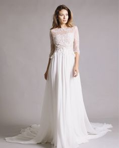 Freya gown we love it for the embellished bodice and fluid skirt & train. Bodice, Train, Gowns, Wedding Dresses, Unique, Skirts, Instagram Posts, Fashion, Atelier