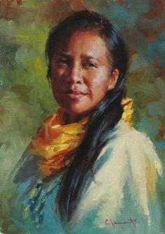 beautiful  portrait paintings | Lakota Woman Painting by Jim Clements - Lakota Woman Fine Art Prints ...