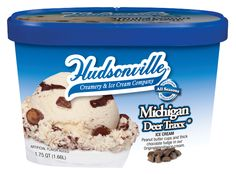 Michigan Deer Traxx- Peanut butter cups and thick chocolate fudge in our original vanilla flavored ice cream