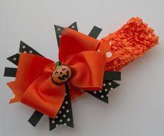 Halloween Pumpkin Boutique Handmade Hair Bow And Headband - Baby, Girls