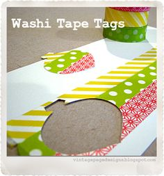 Washi Tape Tags - 4 Quick Steps - Strips of paper would work just as well!