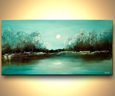 Modern Landscape Painting Turquoise Abstract di OsnatFineArt
