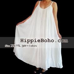 c18a7813b76f8 No.015 - Size XS-7X Hippie Boho Clothing Gypsy White Plus Size Strap Summer  Maxi Dress, S,M,L,1X,2X,3X,4X,5X,6X,7X Dress