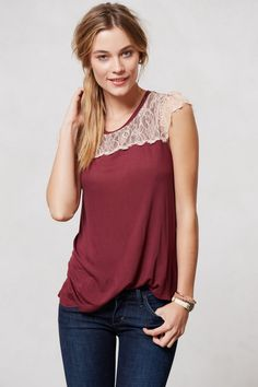 Eyelash Lace Tee - Anthropologie.com -- inspiration for dressing up a plain tank top with lace and adding cap sleeves