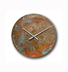 Large Copper Wall Clock 12-inch - Round Decorative Rustic Metal Original - Silent Non Ticking Quartz for Home