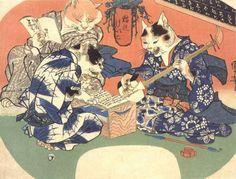 Cats playing music | ukiyō-e woodblock print; 1841  | Utagawa Kuniyoshi