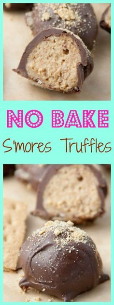 No Bake S'mores Truffles- only 4 ingredients to make these no bake truffles! When it's too hot to bake but you still want dessert these are perfect! http://www.bostongirlbakes.com/2016/05/26/no-bake-smores-truffles/
