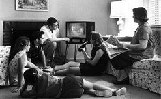 family watching moon landing on tv - Google Search