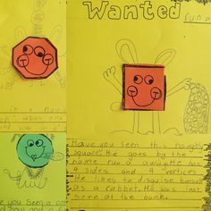 2D shapes wanted posters