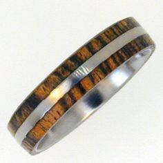 Delicate Bocote Wood Inlay Ring – Wedding Band – His and Hers Available, Ring Armor Included