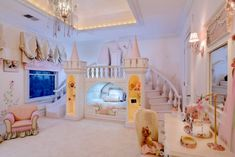 A dream bedroom for any little princess, with a castle bed and a slide!  Don't lose your slipper on the staircase!  I featured this on my blog today:  http://celebrateanddecorate.com/sunday-style-over-the-top-beds/  #castle #princess #girls #bedroom