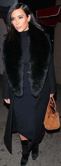 Kim Kardashian: Shoes – Guiseppe Zanotti  Purse – Hermes  Coat – Céline