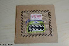 Geborduurde typemachine kaart