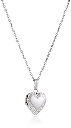 Sterling Silver Children's Petite Embossed Heart Locket Pendant Necklace , Necklace featuring sterling silver locket with embossed pattern on border Inside photo window & hidden hinge Spring ring clasp Hand crafted in the USA Heart Locket, Locket Necklace, Diy Necklace, Pendant Necklace, Silver Lockets, Girls Necklaces, Jewelry Trends, Women Jewelry, Sterling Silver