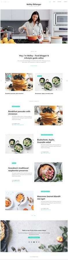 If you are looking for the convenient and user-friendly interface template for blogging, the Molley Belanger food blog WordPress theme will satisfy all your needs. Molley Belanger food blog WordPress theme is created directly for the storytelling and comes with the usable blogs sections. Wordpress Theme, Storytelling, Blogging, Template, Food, Essen, Vorlage, Meals, Yemek