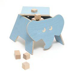 Elefante caja azul