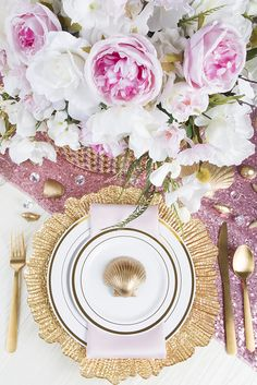 Pink and gold beach inspired table setting with glitz sequins and acrylic crystals