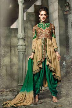 Smashing Beige Ang Green Designer Suit