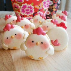 Chicken macaroons too cute to eat.