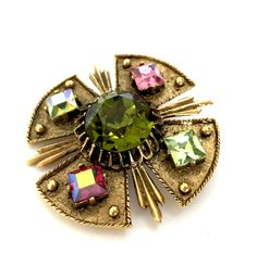 Excited to share the latest addition to my #etsy shop: Dodds Maltese Cross Brooch/Pendant, Green & Pink Large Glass Stones, Florentine Finished Gold Tone Metal, Dimensional, Vintage Gift for Her