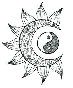 yin and yang tattoo Trippy Drawings, Cool Art Drawings, Pencil Art Drawings, Art Drawings Sketches, Tattoo Drawings, Drawing Designs, Tattoo Designs, Sun And Moon Drawings, Sun Drawing
