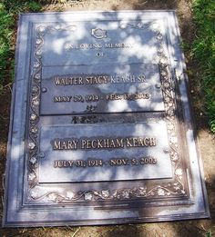 Stacy Keach, Sr - Film and television actor, he appeared in over 100 films and countless television shows and commercials. He was the father of actors, Stacy Keach and James Keach. Big Wednesday, Stacy Keach, Memorial Markers, Famous Tombstones, Cemetery Decorations, Dr Quinn, Ali Baba, Famous Graves, The Lone Ranger