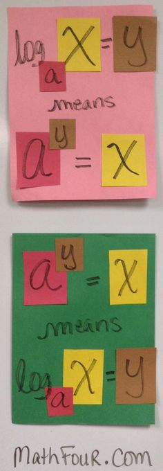 """pinner says:  Today's project in College Algebra was making the color coded #logarithmic definition patterns """"cheat sheets."""" It worked like a charm! Almost the whole class was engaged and understood how to convert from one to the other! ~Bon"""