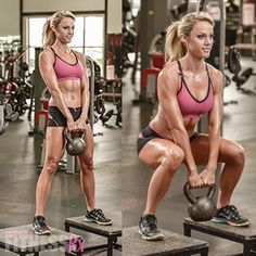 Perfect Legs and Glutes BONUS Exercise: Bench Kettlebell Squat. This increased range of motion will fire up your glutes and amp up your results!