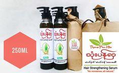 Cold Pressed 100% Pure Coconut Oil (အုန်းဆီ), Air Dried Gooseberry (ဇီးဖြူသီး), Eclipta Alba Hassk (ကြိတ်မှန်ရွက်), Air Dried Lemongrass (စပါးလင်), Aloe Vera (ရှားစောင်းလက်ပတ်), Rosemary (ရို့စ်မေရီ), Eucalyptus (ယူကလစ်), Chamomile (ချာမိုမိုင်းပန်း/ကာမယ်မေးလ်ပန်း/ကမ်မိုမေးလ်ပန်း), Air Dried Snake Jasmine (ထောလပတ်ရွက်) Lemon Grass, Coconut Oil, Serum, Lemon Balm