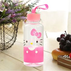 Hello Kitty Cute Kids Water Bottle Tumbler Cup 380ml Girls Pink Handle Drinking #Lilfant