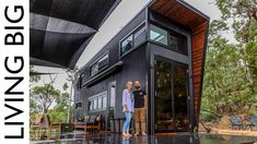 This ultra modern tiny house on wheels is truly something to behold. With it's jet black exterior, super clever design and incredibly high quality of craftsmanship, this tiny home is sure to blow your mind. Please consider becoming a Living Big. Modern Tiny House, Tiny House Living, Tiny House Plans, Tiny House Design, Tiny House On Wheels, Modern House Design, Small Space Design, Black Exterior, Tiny House Movement