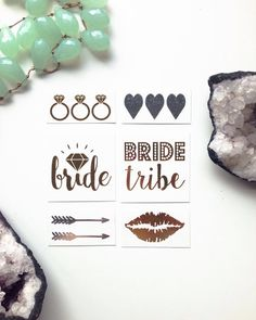 Gorgeous Hens Night flash tattoos for you and your ladies! Mix pack of gold and silver tats designed by the best bachelorette shop: www.thetattooboutique.etsy.com
