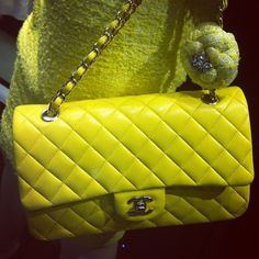 Chanel: The classic quilted gets hip and happy in nearly neon yellow.