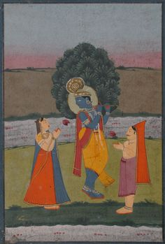 Venugopala: fluting Krishna adored by a gopa and gopi on the banks of the Yamuna River. Jaipur, India ca. 1870