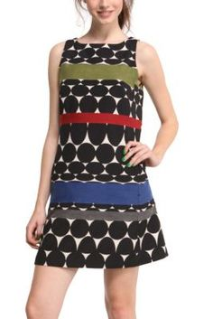 Blues Explosion dress. This pinafore dress is from the Desigual designed by Lacroix collection, which makes it very special. It's inspired by op-art optical illusions and has a zip fastening at the back.