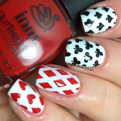 Poker, playing cards, deck, game, red, black, white, clubs, hearts, spades, diamonds, nail vinyls,