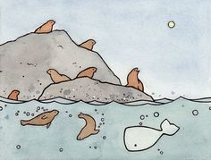 Seals and Whale Mini Print.  Art by David Scheirer.