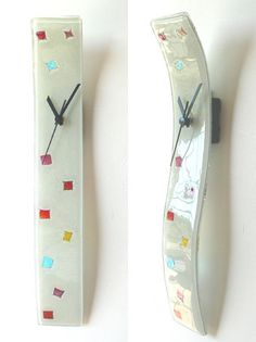 WHITE & MIXED COLOURS FUSION GLASS WALL CLOCK