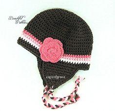 Crochet Hat Pattern Girl Crochet Hat Earflap by BeautifulPatterns