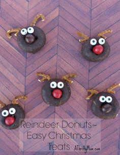 Reindeer donuts, #easy, #christmastreats, #reindeer, #rudolph, #donuts, #easytreats, #santa, #diy