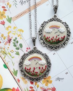 Gökkuşağına hasret gönüllere selam💞 Bendensiniz😉 içimizdeki renkler… Greetings to the hearts longing for the rainbow 💞 You're from me ın never fade the colors in us . buy these necklaces… Embroidery Hoop Crafts, Hand Embroidery Videos, Hand Embroidery Flowers, Embroidery On Clothes, Silk Ribbon Embroidery, Embroidery Jewelry, Hand Embroidery Patterns, Embroidery Kits, Embroidery Designs